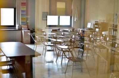 An empty classroom at William Floyd High School in Mastic Beach.