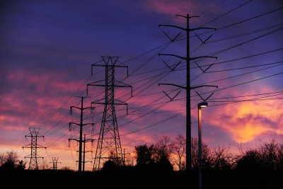 Power lines seen at sunrise in Melville. (Jan. 11, 2013)